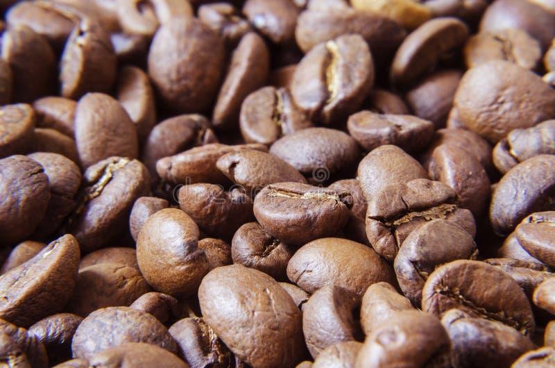 Kaffebönor spridda över ytbehandlar 4 arkivfoton
