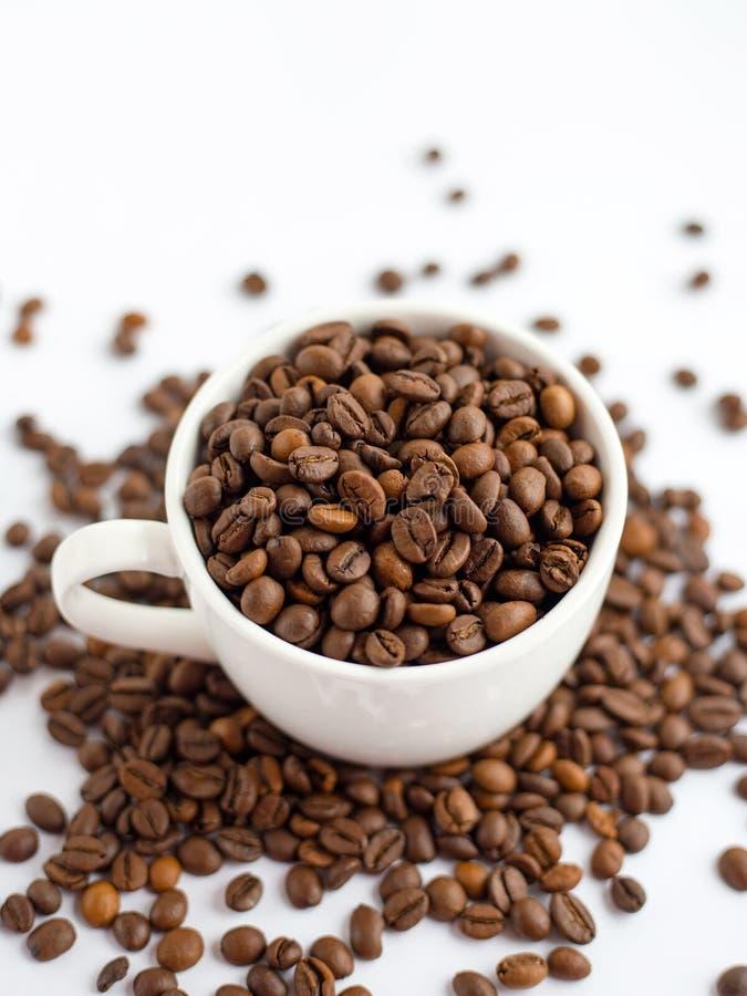 Kaffeb?nor i den vita koppen som isoleras p? vit bakgrund, drinkbegrepp royaltyfria foton
