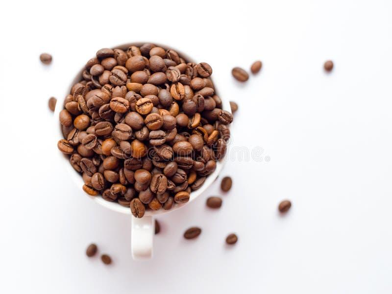 Kaffeb?nor i den vita koppen som isoleras p? vit bakgrund, drinkbegrepp Top besk?dar royaltyfria bilder