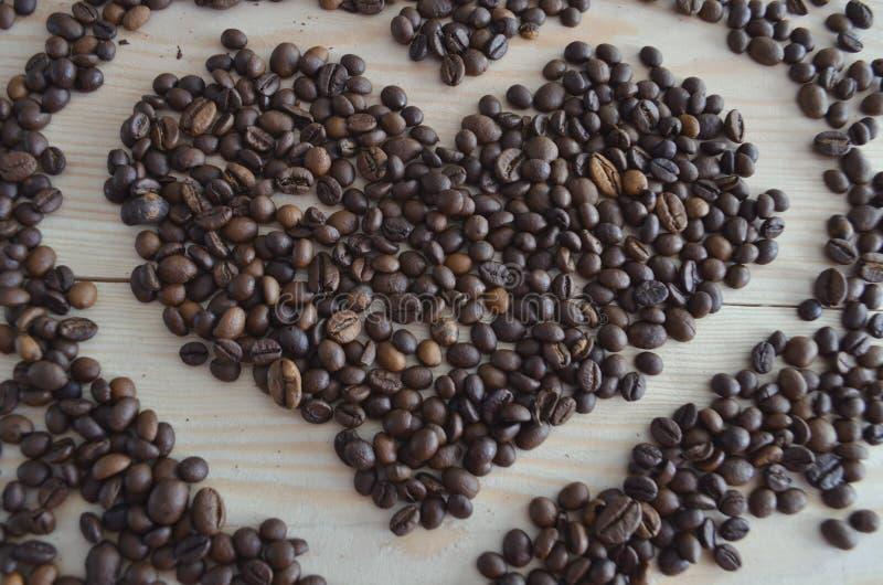 Kaffeb?nor p? tr?bakgrund arkivbilder