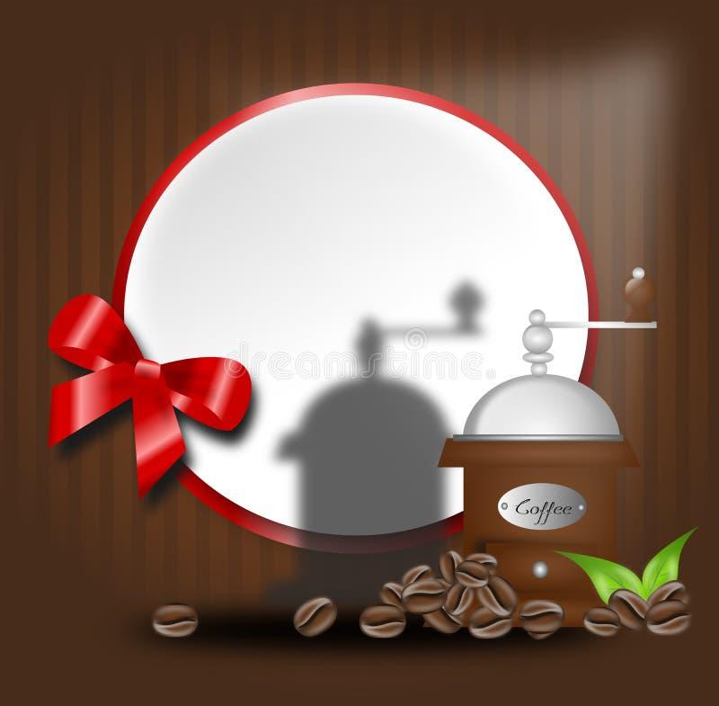 Kaffebakgrund med den kaffebönor och molar stock illustrationer