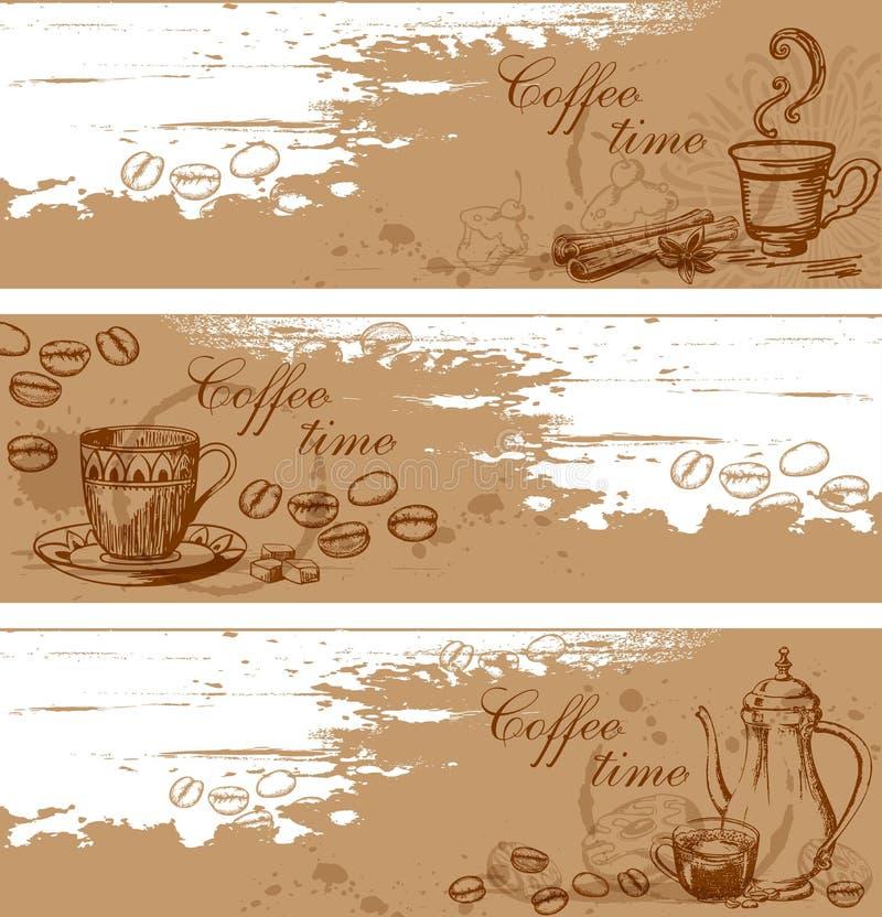 Kaffebakgrunder vektor illustrationer