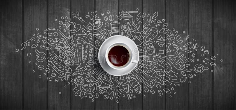 Kaffebegrepp på träbakgrund - kopp för vitt kaffe, bästa sikt med klotterillustrationen om kaffe, bönor, morgon vektor illustrationer