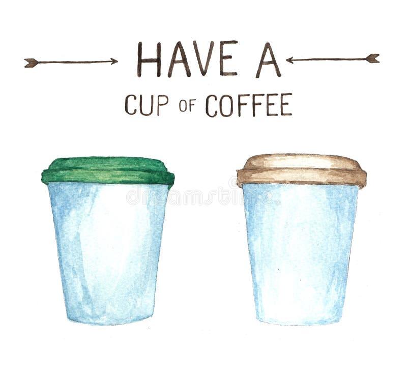Kaffebeståndsdelar, hög upplösning för vattenfärgmålarfärg stock illustrationer