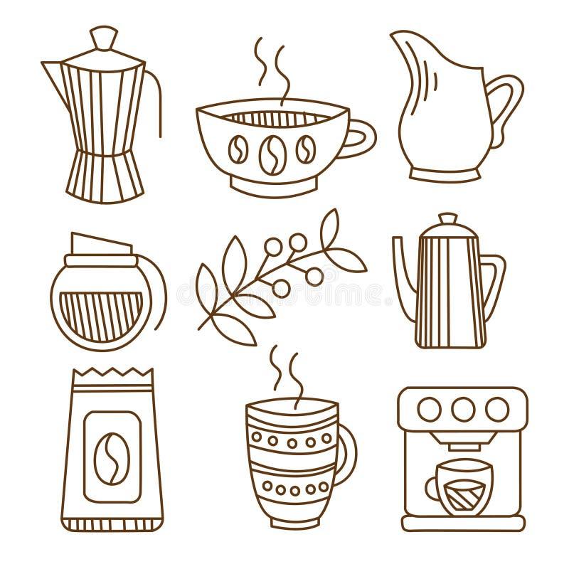 Kaffebeståndsdelar i Handdrawn linjär stil vektor royaltyfri illustrationer