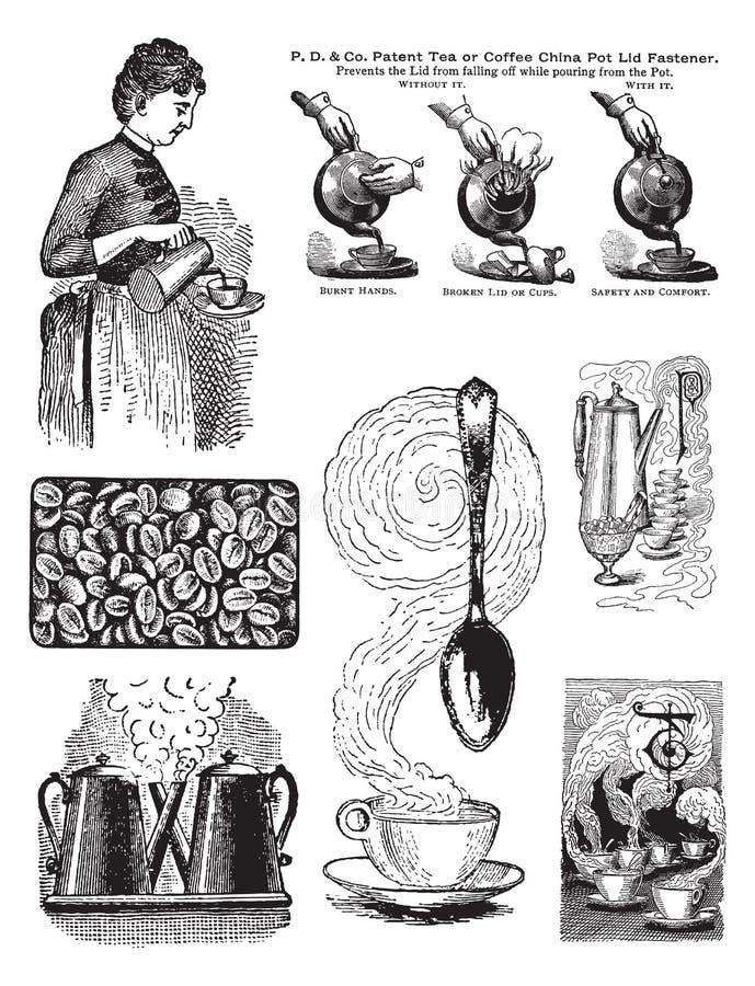 kaffebildset sju style tappning royaltyfri illustrationer