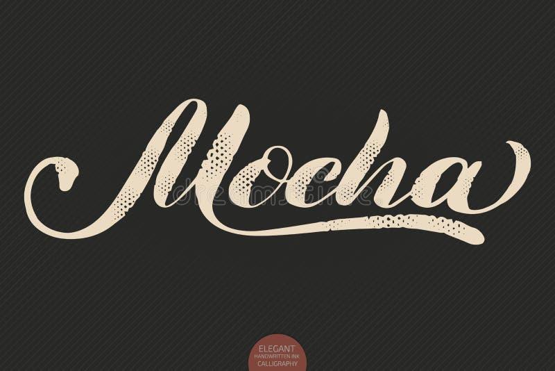 Kaffebokstäver Dragen kalligrafimocka för vektor hand Elegant modern kalligrafifärgpulverillustration Typografiaffisch på stock illustrationer