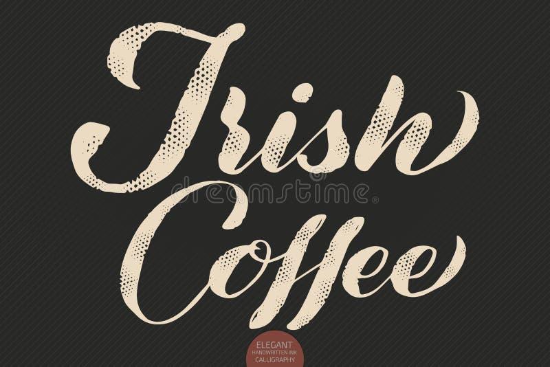 Kaffebokstäver Kaffe för kalligrafi för vektor hand dragit irländskt Elegant modern kalligrafifärgpulverillustration typografi stock illustrationer