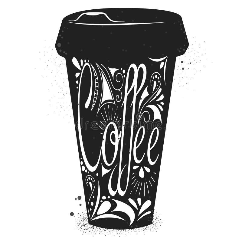 Kaffebokstäver på koppen stock illustrationer