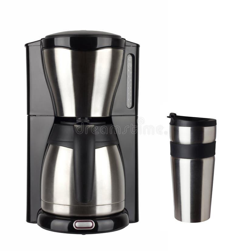 Kaffebryggare och thermo kopp royaltyfria foton