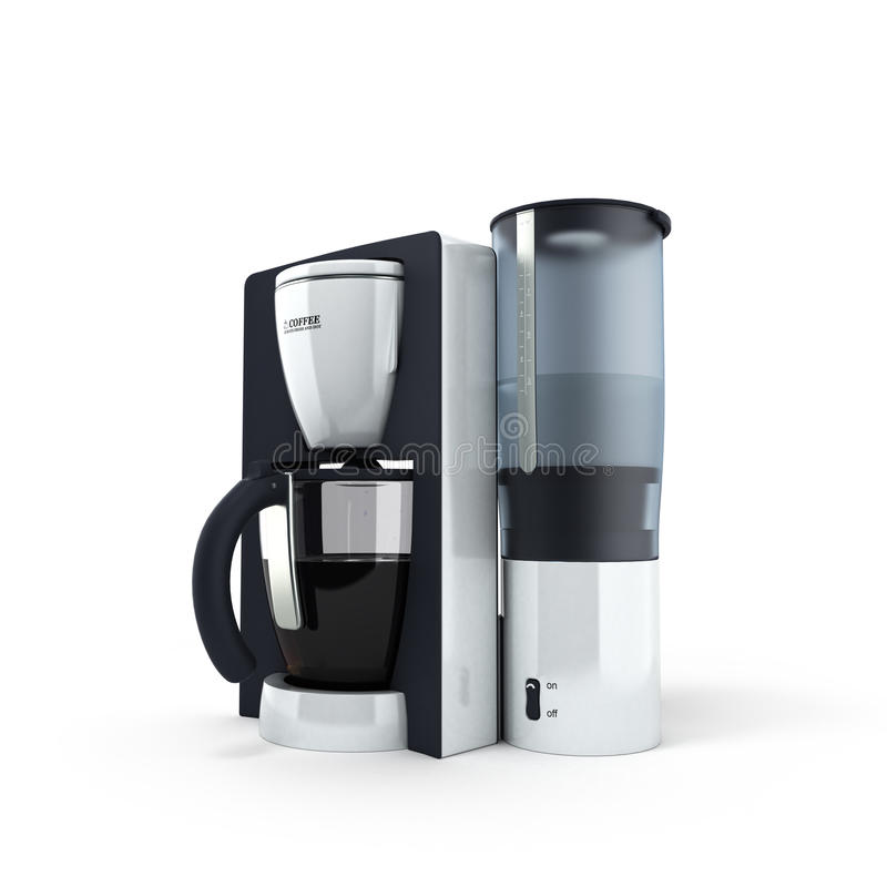 Kaffebryggare på den vita bakgrunden stock illustrationer
