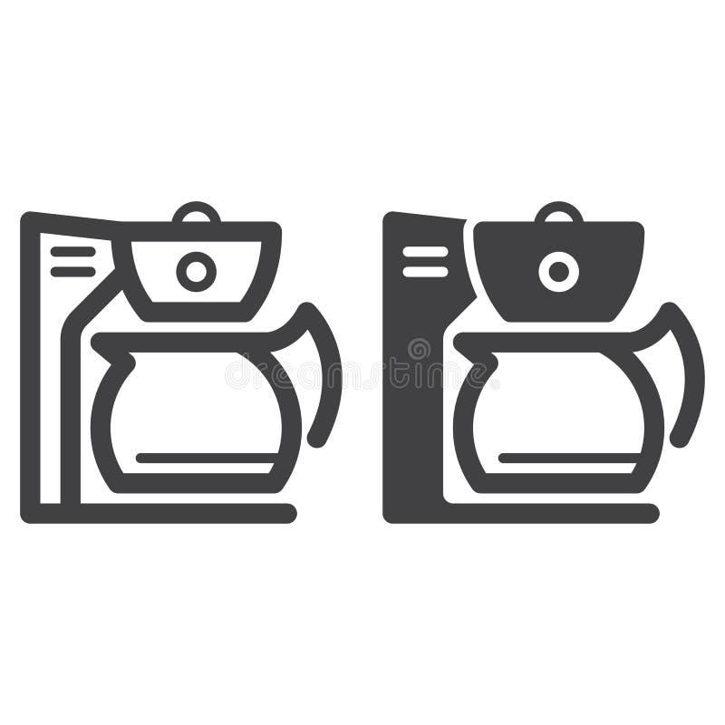 Kaffebryggarelinje och fast symbol, översikt och fylld pictogram för tecken för vektor som linjär och full, isoleras på vit royaltyfri illustrationer