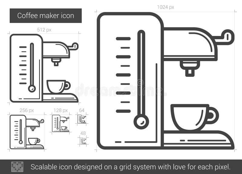 Kaffebryggarelinje symbol vektor illustrationer