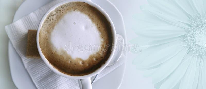 Kaffecappuccino i en vit kopp på en vitt servett och tefat Ställe för text med en stor gerberablomma Top beskådar arkivbilder