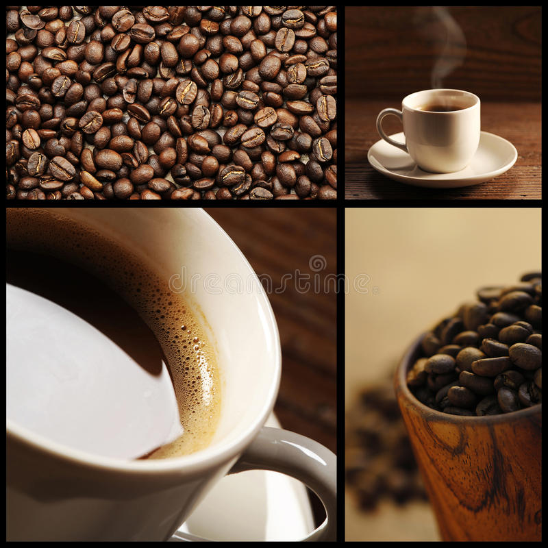 Kaffecollage royaltyfri fotografi