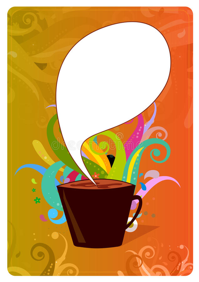 kaffedesignaffisch royaltyfri illustrationer