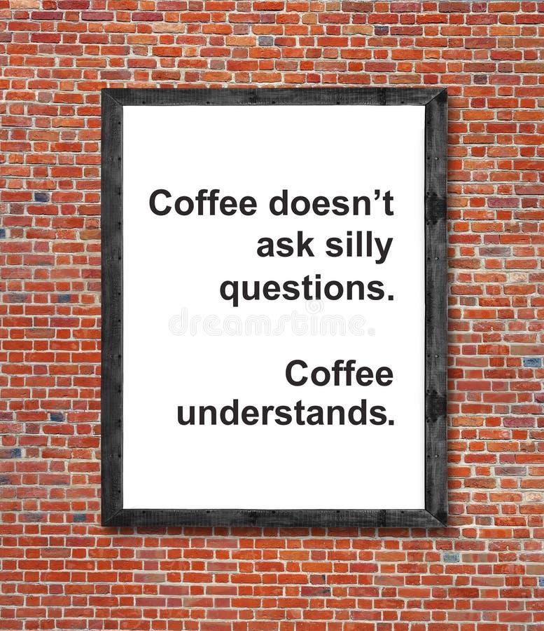 Kaffedoesn` t frågar enfaldiga frågor som är skriftliga i bildram arkivbild