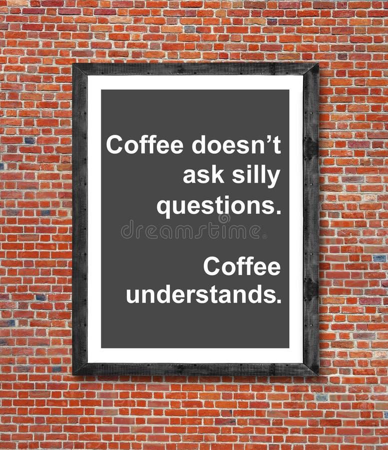 Kaffedoesn` t frågar enfaldiga frågor som är skriftliga i bildram stock illustrationer