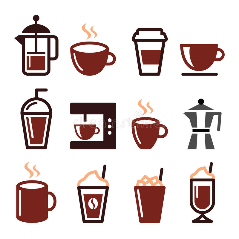 Kaffedrinkar, kaffebryggaresymbolsuppsättning royaltyfri illustrationer