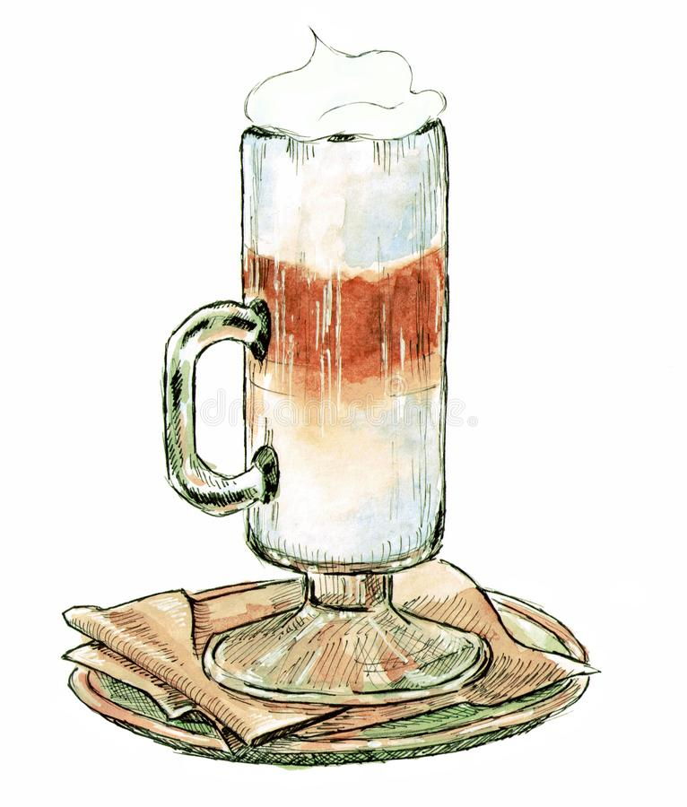 Kaffedrinken med mjölkar på en servett, vattenfärgillustration stock illustrationer