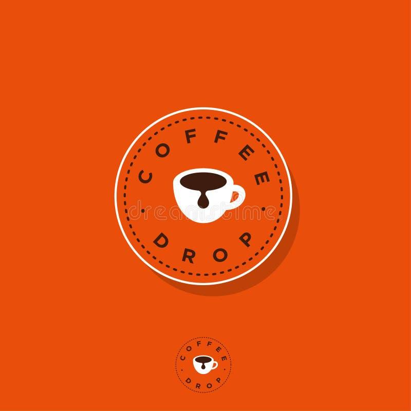 Kaffedropplogo Kaffeemblem En kopp kaffe på cirkelemblem Plan logo för kafé stock illustrationer