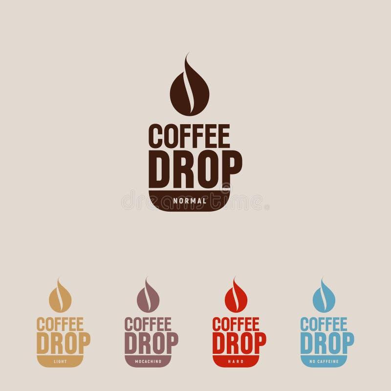 Kaffedropplogo Kaffeemblem En kopp och en mörk droppe som symbol för kaffeböna Plan logo för Hipster för kafé stock illustrationer