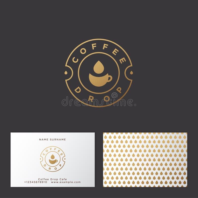 Kaffedropplogo Kaffeemblem Guld- kopp- och droppsymbol Plan logo för kafé finansiell serie för affärskort royaltyfri illustrationer