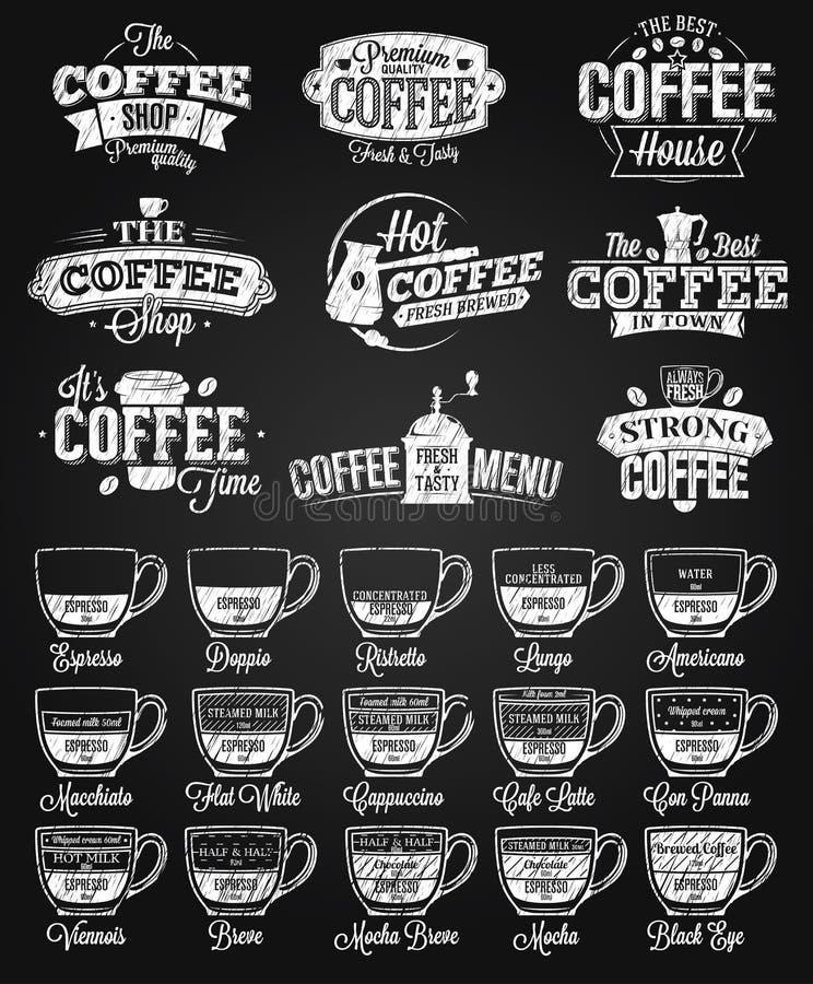 Kaffee-Aufkleber, Logo und Menükreidezeichnung stock abbildung