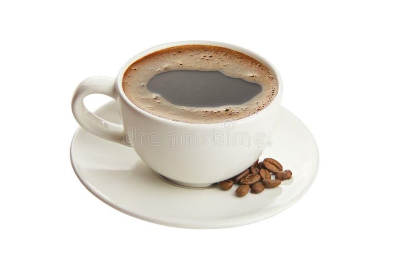 Kaffee in der Kaffeetasse mit natürlichen Körnern stockbilder