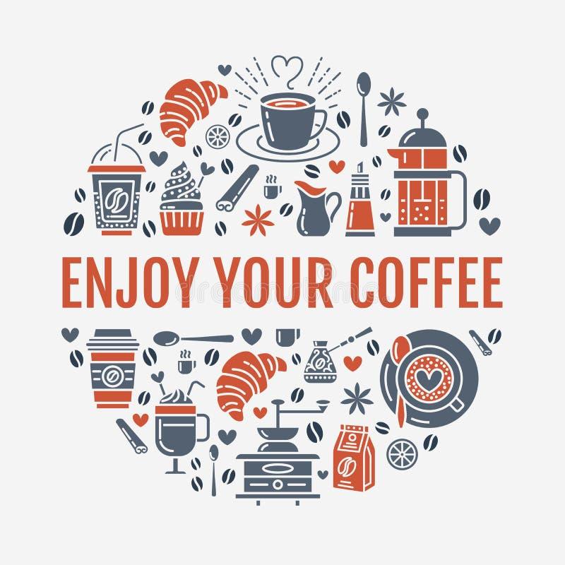 Kaffee, der Plakatschablone macht Brauenvektor zeichnen Ikone, Kreisillustration für Menü Elemente - coffemaker, französisch vektor abbildung