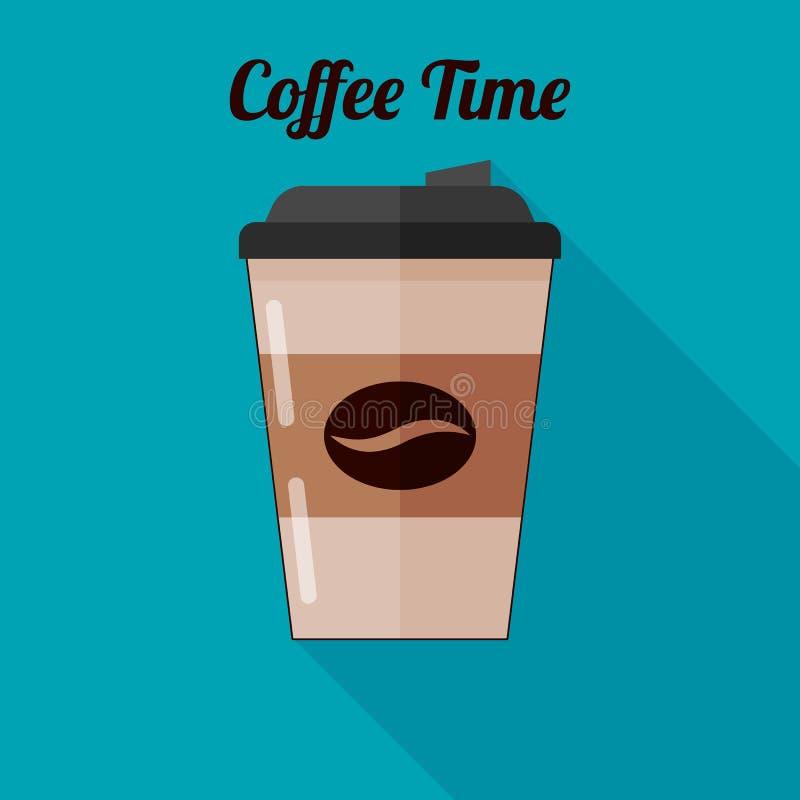 Kaffee in einer Plastikschale zu gehen Ikone in der flachen Vektorart stock abbildung