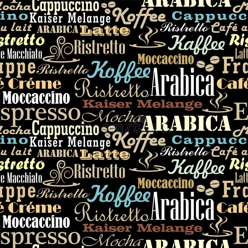 Kaffee fasst nahtloses Muster ab stock abbildung