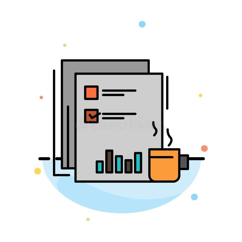 Kaffee, finanziell, Markt, Nachrichten, Zeitung, Zeitungen, abstrakte flache Farbikonen-Papierschablone lizenzfreie abbildung