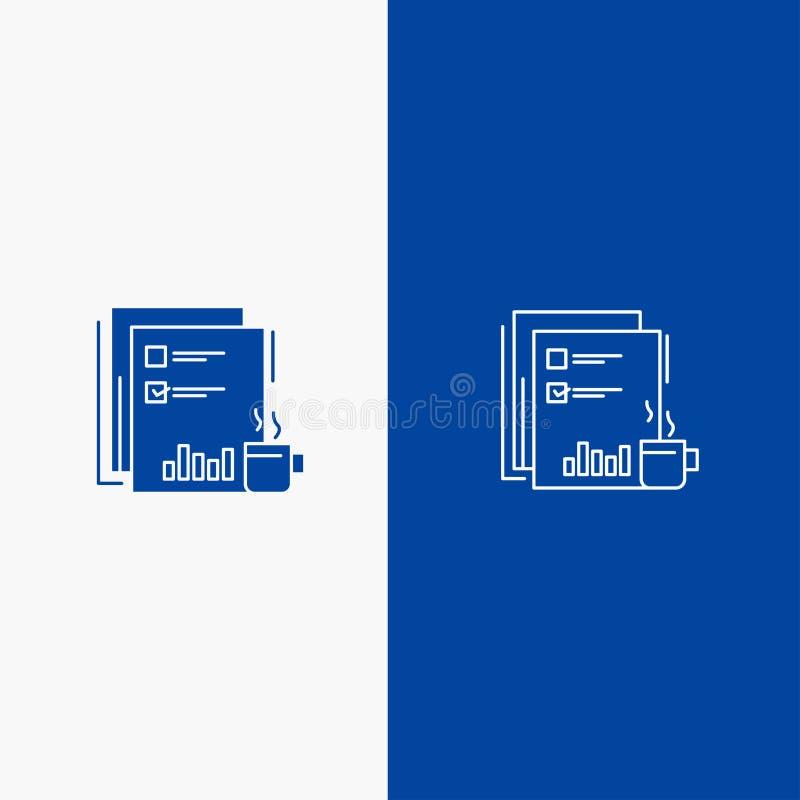 Kaffee, finanziell, Markt, Nachrichten, Zeitung, Zeitungen, der Papierikone der linie und des Glyph festen Blau blaue Fahne Ikone vektor abbildung