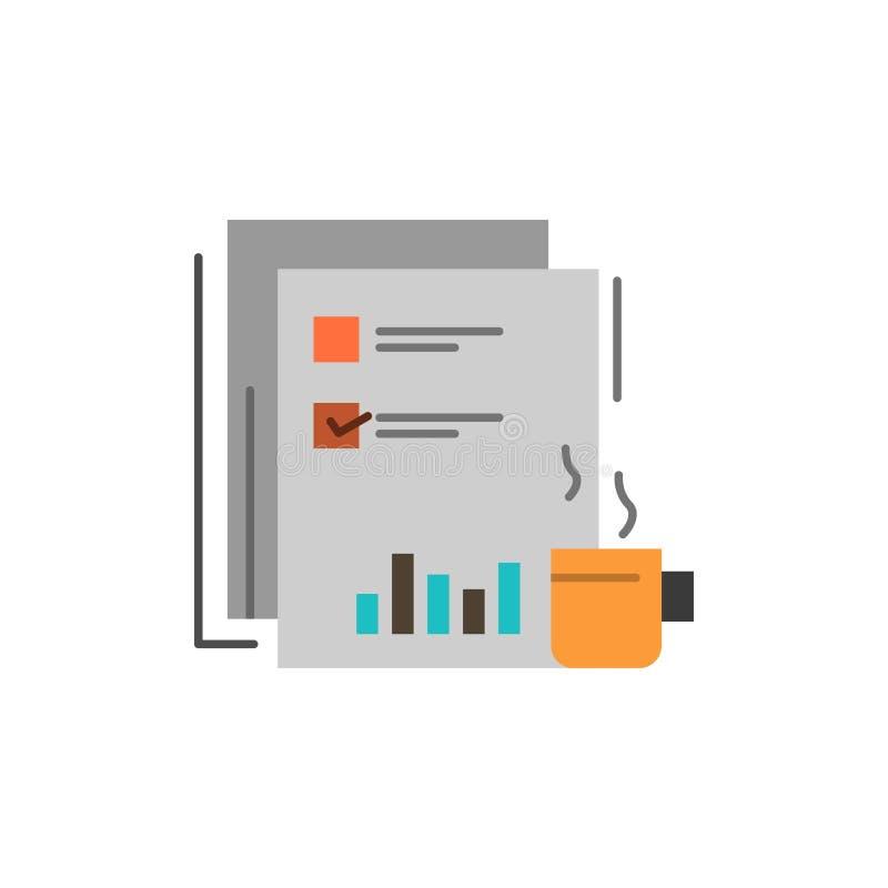 Kaffee, finanziell, Markt, Nachrichten, Zeitung, Zeitungen, flache Farbpapierikone Vektorikonen-Fahne Schablone vektor abbildung
