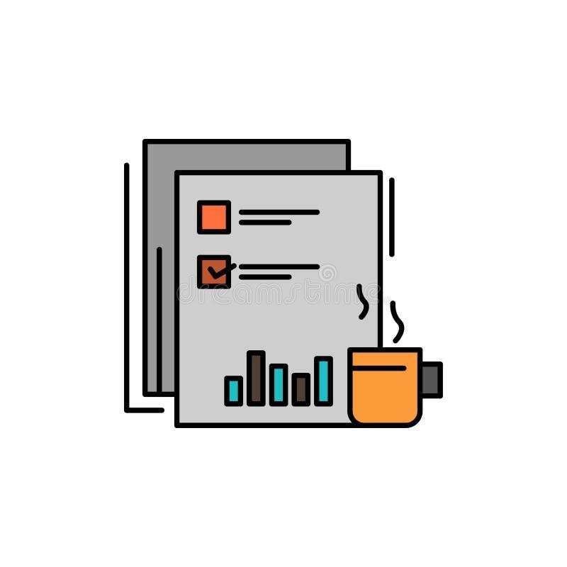 Kaffee, finanziell, Markt, Nachrichten, Zeitung, Zeitungen, flache Farbpapierikone Vektorikonen-Fahne Schablone stock abbildung