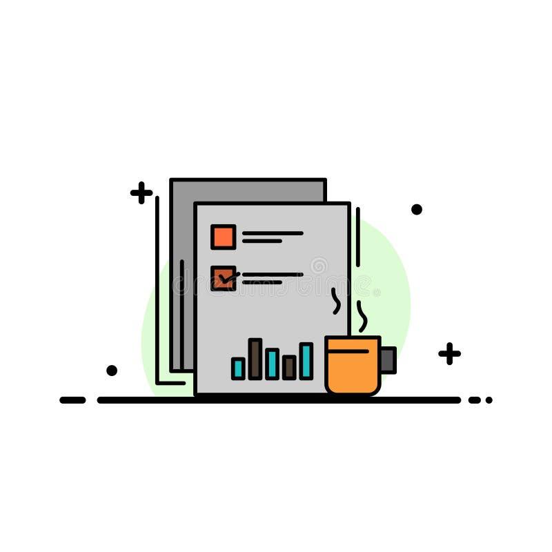 Kaffee, finanziell, Markt, Nachrichten, Zeitung, Zeitungen, Papiergeschäfts-flache Linie gefüllte Ikonen-Vektor-Fahnen-Schablone stock abbildung