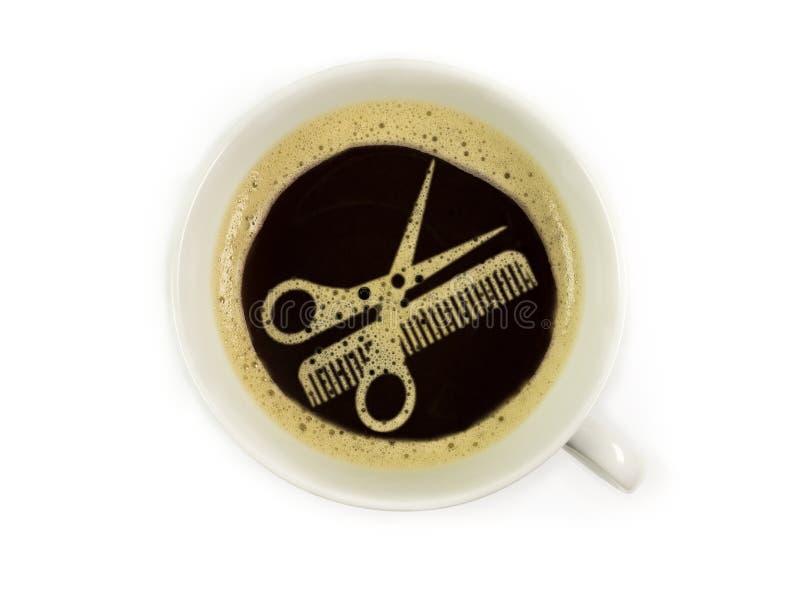Kaffee am Friseur lizenzfreies stockbild
