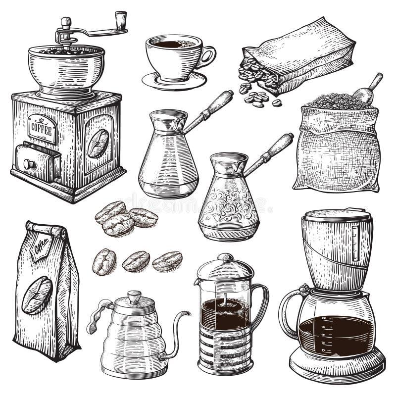 Kaffee-Hand gezeichnete Sammlung Die Skizzen-Illustration, die mit Turk Cups Bag With Beans-Hersteller-Kessel eingestellt wird, h lizenzfreie abbildung