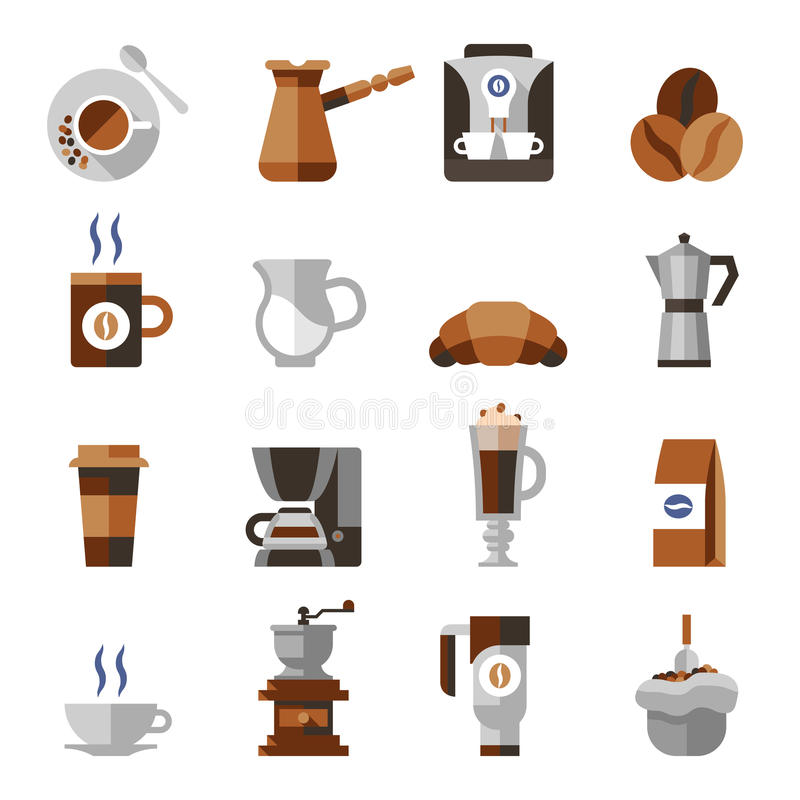 Kaffee-Ikonen-Ebenen-Satz stock abbildung