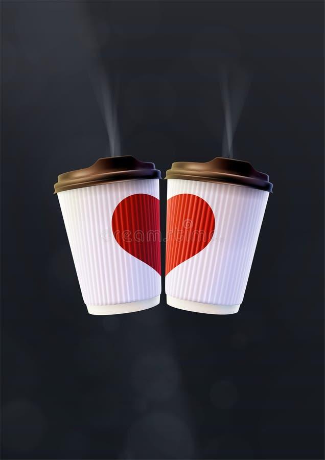 Kaffee-Liebes-Plakat-Schablone Weiße Kräuselungs-Schalen mit einem roten Herzen auf einem schwarzen Hintergrund lizenzfreie abbildung
