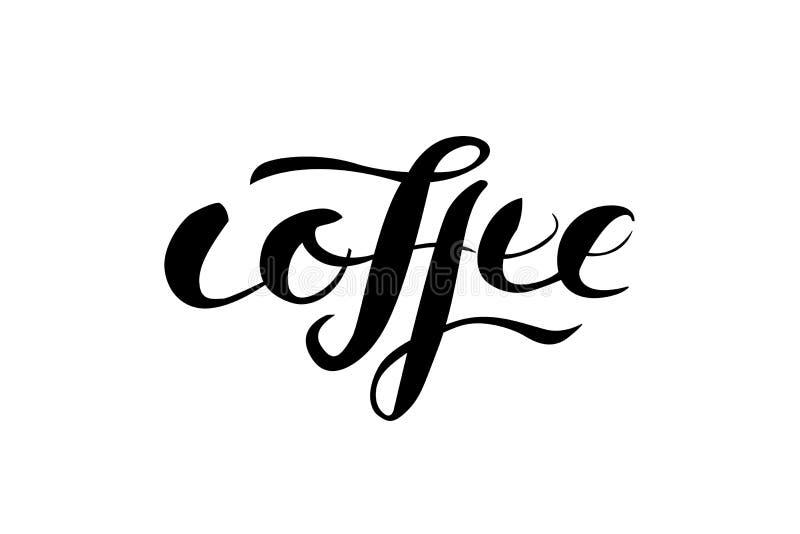 Kaffee lokalisiert, Wort beschriftend stockfotos