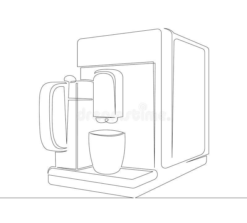 Kaffee, Maschine, Getränk, Schale, Espresso, Hersteller, Koffein, Café, Getränk, Küche stock abbildung
