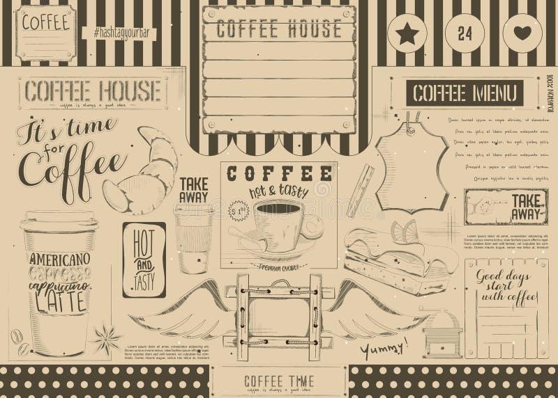 Kaffee-Menü Placemat stock abbildung