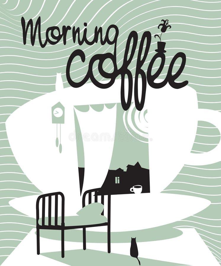 Kaffee mit einem Fenster lizenzfreie abbildung