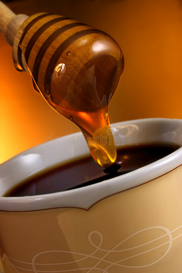 Kaffee mit Honig. lizenzfreies stockbild