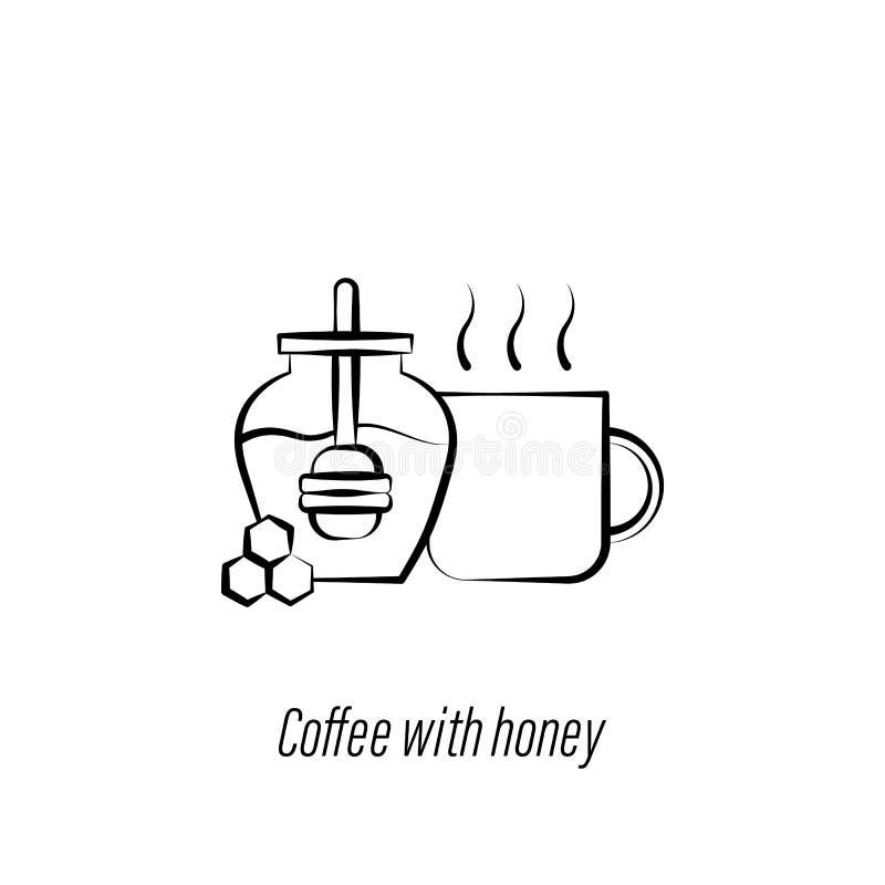 Kaffee mit Ikone des Honighandabgehobenen betrages Element der Kaffeeillustrationsikone Zeichen und Symbole k?nnen f?r Netz, Logo vektor abbildung