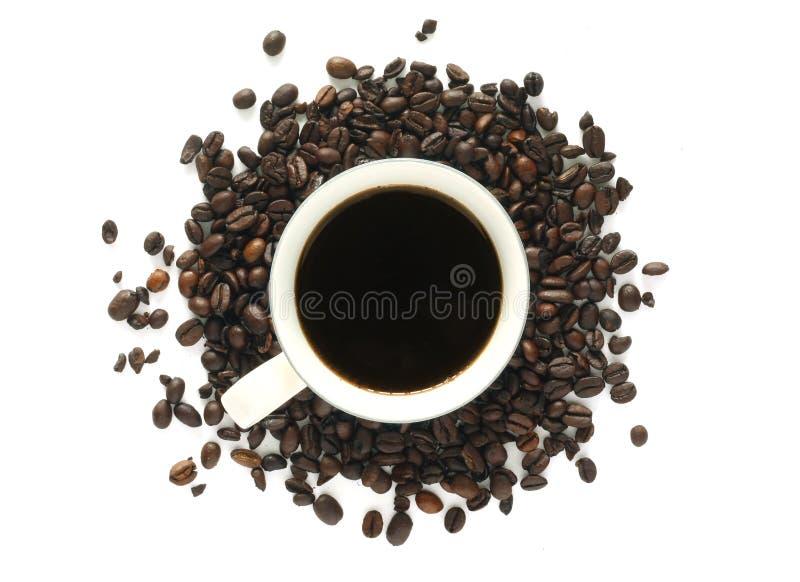 Kaffee mit losen Bohnen stockfotografie