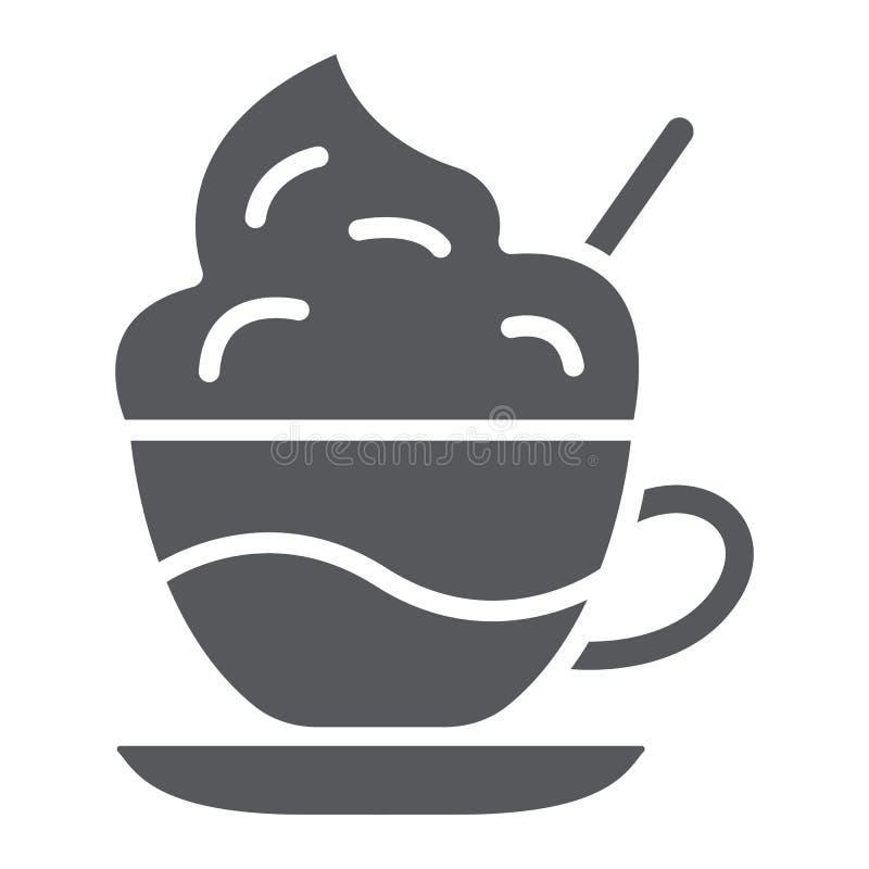 Kaffee mit Sahne Glyphikone, Kaffee und Schale, Kaffee mit Schaumzeichen, Vektorgrafik, ein festes Muster auf einem weißen stock abbildung