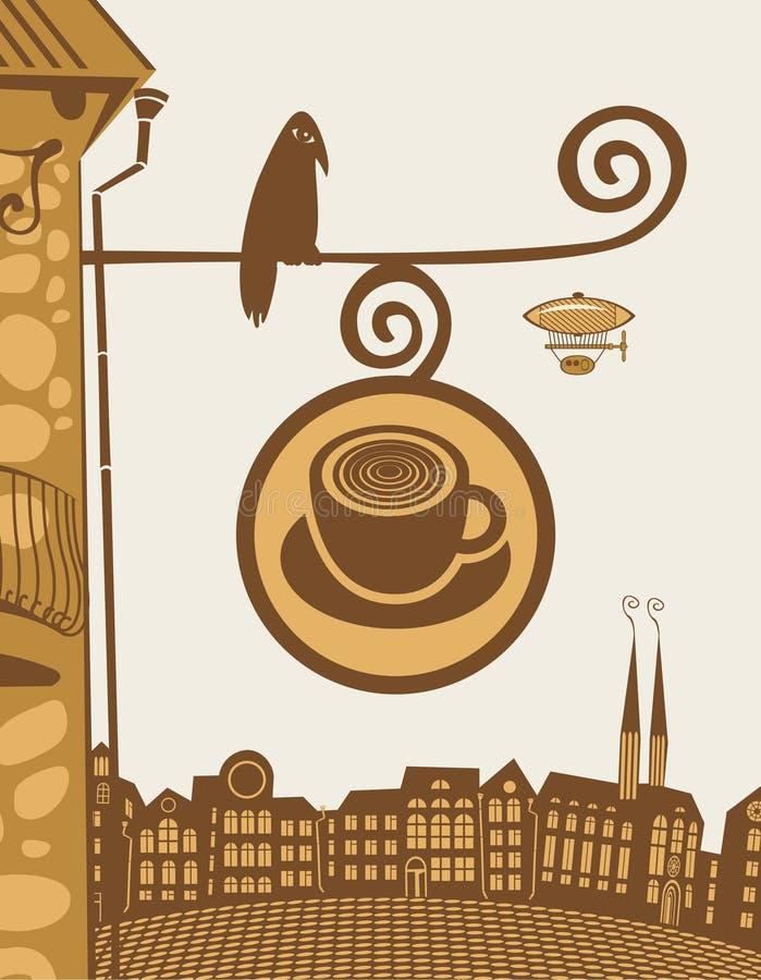 Kaffee mit Vogel lizenzfreie abbildung